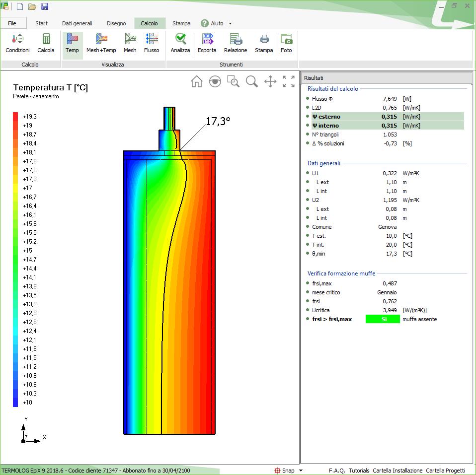 calcolo agli elementi finiti del ponte termico parete-serramento con davanzale interrotto