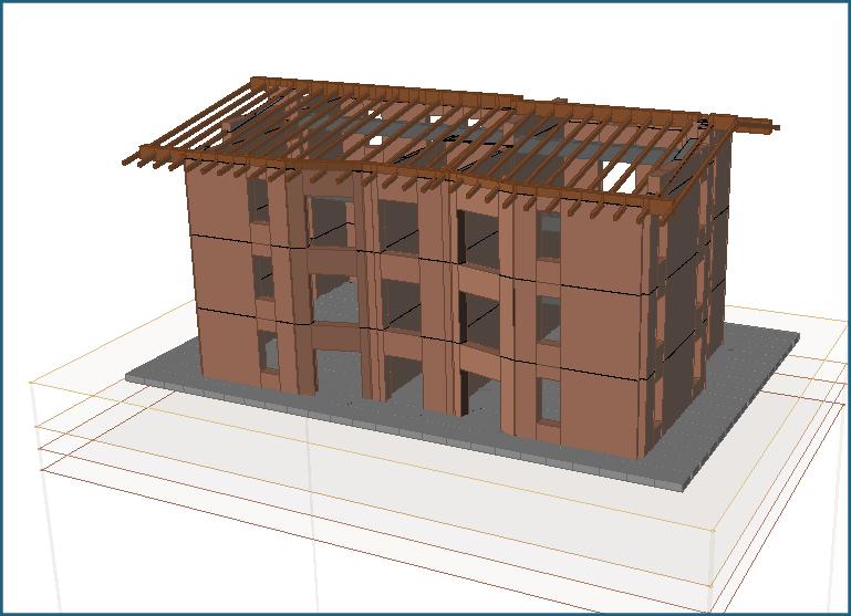 Edificio in muratura con fondazione diretta di tipo platea in c.a. modellato in 3D con TRAVILOG. Il terreno presenta un'alternanza di strati granulari e incoerenti.