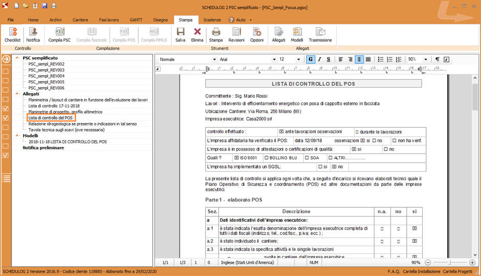 Check list per il CSE da utilizzare per la verifica di idoneità del POS, ottenuta con SCHEDULOG