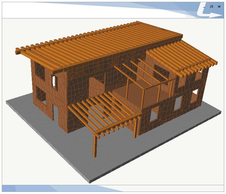 Edificio in legno realizzato in pannelli XLAM- TRAVILOG consente di modellare e verificare sia strutture intelaiate in legno che edifici in XLAM con le NTC 2018