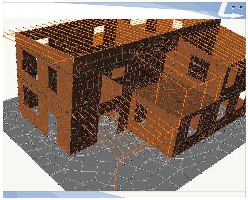 Edificio in legno realizzato in pannelli XLAM- Modello misto  ad elementi finiti costituito da componenti shell ed unifilari in legno