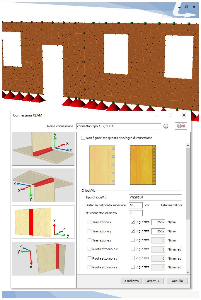Giunto verticale di continuità tra due pannelli con connessione a vite. TRAVILOG offre un pratico wizard per la modellazione di tutte le possibili connessioni di parete e solaio