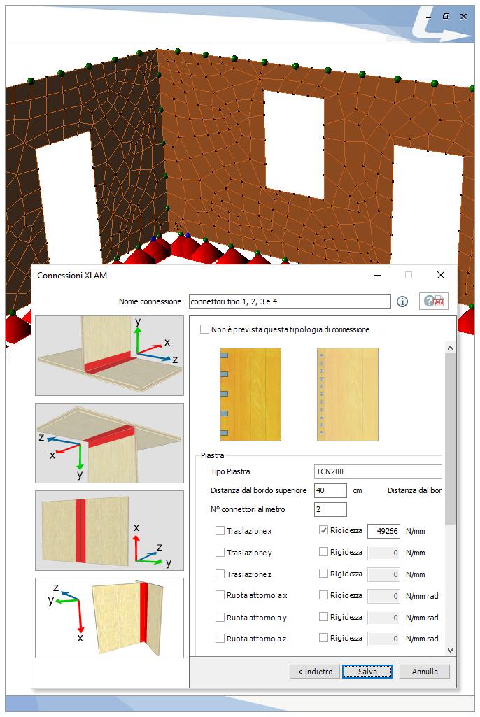 Collegamento d'angolo tra due pannelli con connessione a piastre. TRAVILOG offre un pratico wizard per la modellazione di tutte le possibili connessioni di parete e solaio