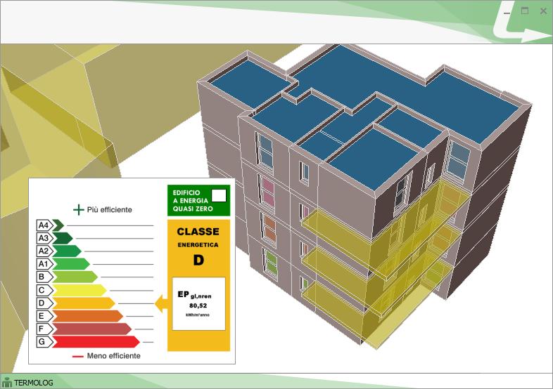 Modello 3D e classificazione energetica dell'edificio della presente analisi disponibili nel Modulo CERTIFICATORE