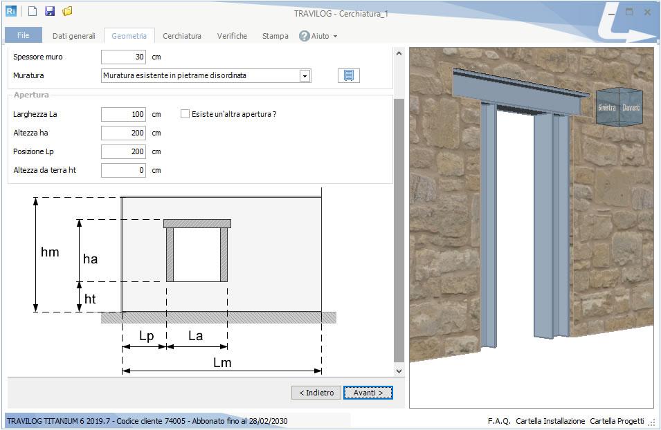 Geometrie e materiali per il progetto di una cerchiatura con TRAVILOG