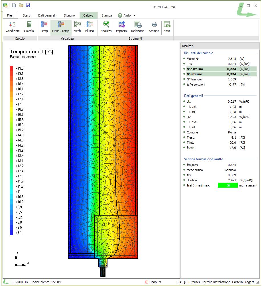 Verifiche CAM: calcolo del ponte termico parete-serramento agli elementi finiti e verifica di formazione muffa