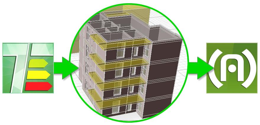 FIG.8: Importazione in ACUSTILOG del modello dell'edificio già inserito in TERMOLOG