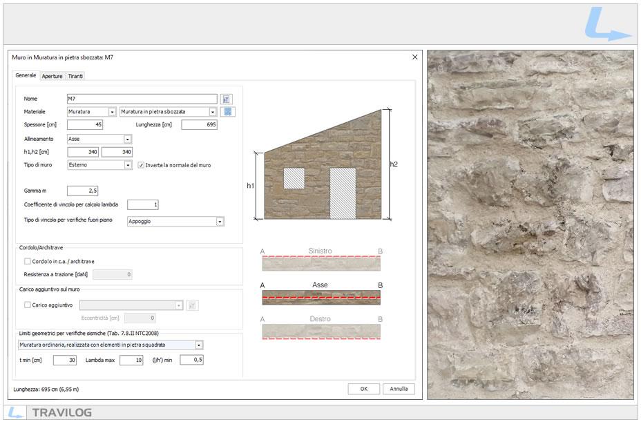 Materiale delle pareti murarie: muratura in pietra sbozzata