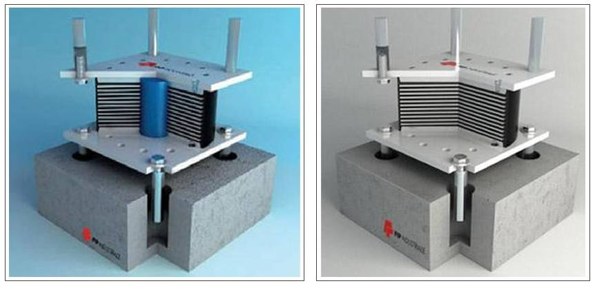 Isolatore elastomerico con e senza nucleo in piombo