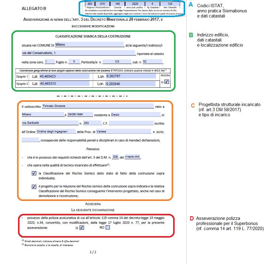 Pratica Sismabonus, Allegato B - pagina 1