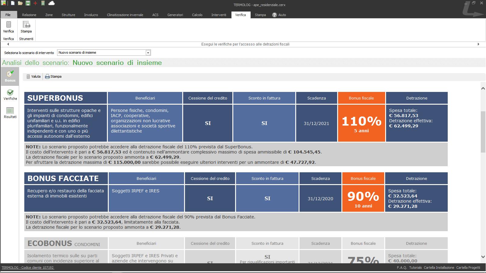 Analisi del Superbonus in TERMOLOG – TERMOLOG suggerisce attraverso note e indicazioni numeriche l'aliquota di detrazione, la spesa massima ammissibile, la detrazione massima e il bonus ottenibile.