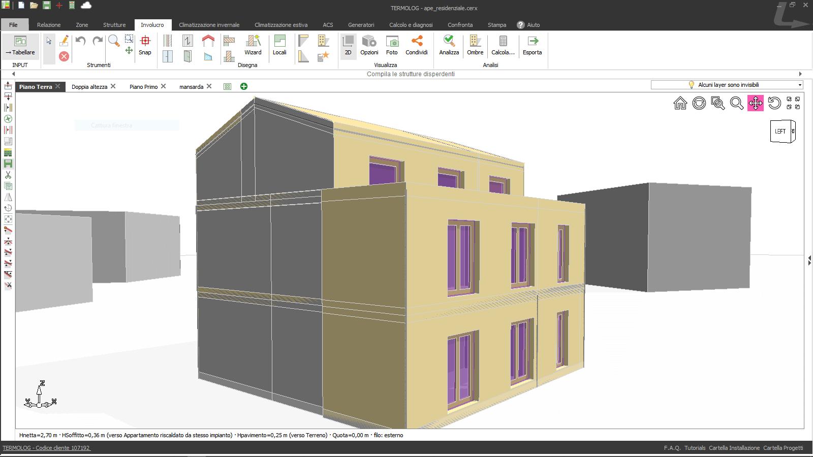 Modello di edificio realizzato con TERMOLOG
