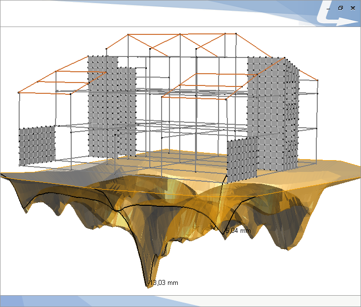 Cedimenti attesi per edificio in c.a. con fondazione diretta a travi rovesce. Il valore massimo calcolato da TRAVILOG è 1,3 cm circa.
