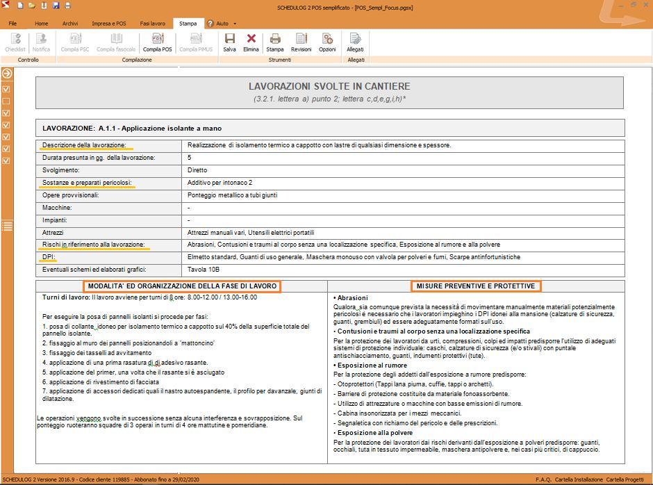 Scheda di valutazione dei rischi nel POS  per l'attività di posa di pannelli isolanti (cappotto esterno) redatta con SCHEDULOG