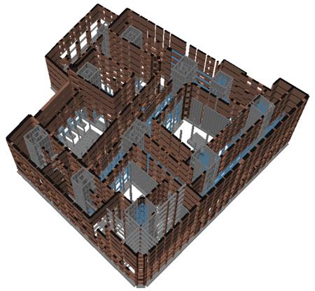 Modello di calcolo delle Corti di Baires con TRAVILOG, vista solida