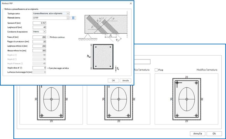 Nuove funzioni per l'inserimento di rinforzi in FRP direttamente nel modello di calcolo 3D